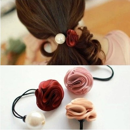 [6903] Free shipping Korea hair ring for women girl fashion flower rose Pearl hair tie head ornaments hair band hair accessory(China (Mainland))