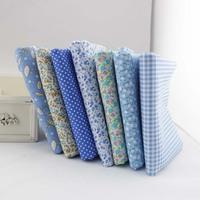 "New Products! 7 Pieces/lot 50CMx50CM ""cute blue"" Cotton Fabric Fat Quarters bundle Tilda cloth Patchwork Quilting Fabric"