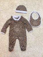2015 New Fashion Leopard Baby Romper Sets Hat/Cap+One-Piece Footie+Feeding Bibs Newborn Jumpsuits