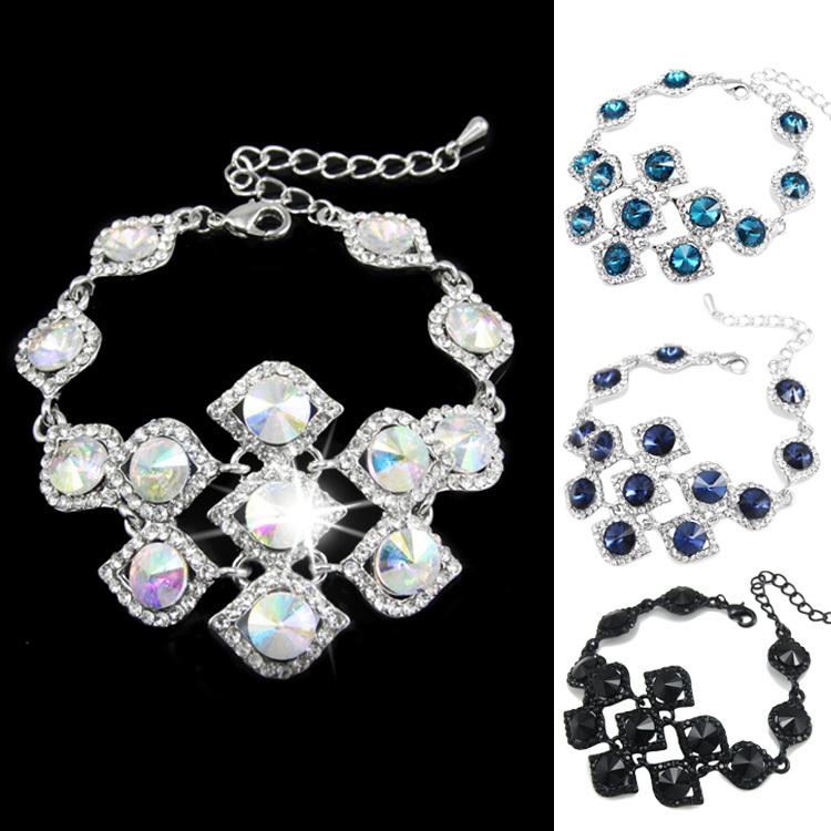 Luxury Crystal Rhinestone Wedding Bracelet for Women New Brand Geometric Bracelet jewelry brtj72(China (Mainland))