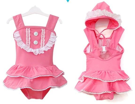 Girl swimwear new 2015 Barbie doll one-piece bathing suit cute toddler swimsuits Bikini + cap girls swim wear kids tutu costume(China (Mainland))