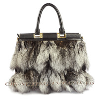 CX-H-51 High Quality  Fox Fur Fashion Latest Ladies Handbags