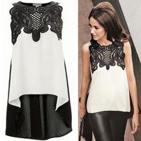 Ladies' irregular  lace stitching T-shirt  Slim shirt brand tops1298