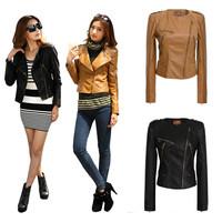 Black Brown Autumn Women Faux Leather Epaulet Short Jacket Lapel Slim Long Sleeve Free shipping