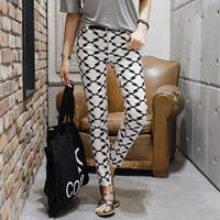 Black White Geometric Stretch Skinny Pencil Pants 2015 Clothing Women Fashion Pants Slim Trousers With Pockets Plus Size 1501184