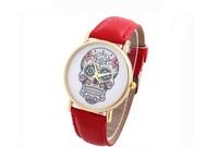 2015 Popular Fashion leather beautiful Style Skull Quartz Watch Women Ladies Dress Wristwatch Unisex Casual skull watch 8colors