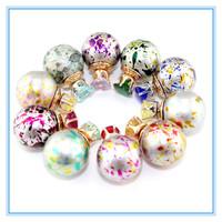 New Stud Earrings Double Pearl Stud Earrings Multicolors Round Beads Crystal Double Side Wear Earrings