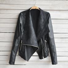 Punk Style Women Leather Jacket Vintage Patchwork Biker Motorcycle Big Lapel Short Coat Zipper Pocket Slim Jaqueta Couro(China (Mainland))
