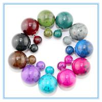 Fashion Women Stud Earrings Double Pearl Stud Earrings Multicolors Round Beads  Double Side Wear Earrings