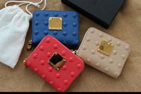 DA427 M  New plaid genuine leather 100% zipper little change purse coin purse short wallet wholesale drop shipping free shipping