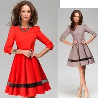 Новая весна 2015 & осенью случайных женщин твердых шифоновые длинные Трапеция потерять дна мини-платье, красный, s, m, l, xl, xxl