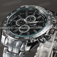 Fashion Relogio Masculino Silver Round Case Alloy Strap Band  Analog Male Casual Dress Clock Wrist Men's Quartz Watch / PHN066