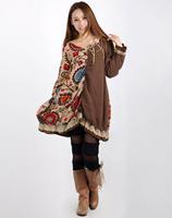2015 Mori girl flower  light brown cotton clothing tribe spliced pleated lace v-neck dress 3KAF197785