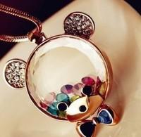 Fashion Transparent Austria Crystal Cartoon Cute Teddy Bear Sweater Long Necklace