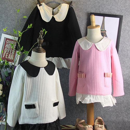 2015 spring autumn fashion turn down collar bow pocket long sleeve girl t shirt roupa infantil menino 2~7age children t shirts(China (Mainland))