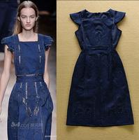 2015 Runway High Quality Designer Denim Dress Women's Short Sleeve Square Collar Embroidery Cutout Casual Dress