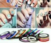 20pcs/set Rolls Fashion Striping Tape Line Nail Art Decoration Sticker DIY Tool Gift nail art metal wire