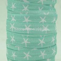 WM ribbon wholesale/OEM 5/8inch 150203001 seastar printed in blue folded over elastic FOE 50yds/roll free shipping