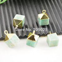 10Pcs Druzy Green Aventurine Square Shape Stone Charms Pendant Finding