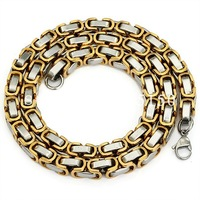 60cm 18K Gold Plated 316L Stanless Steel Byzantine Chain Necklace for Men Women Fashion Jewelry Free Shipping