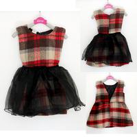 wholesale(5pcs/lot)- 2015  autumn winter mesh  sleeveless plaid child girl dress