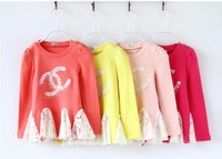 2015 3-7Y NEW Retail Kids Spring Tops princess lace Long Sleeves T shirt Children Girls cute Princess t shirt top tee  Kids