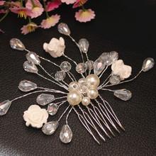 Fashion Wedding Bridal Hair Accessories Silver Plated Hair Jewelry Flower Crystal Pearls Hair Clip Hair Comb
