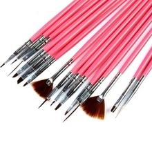 N014 Hot Sell 15pcs/set Pink Nail Art Pen Professional Nail Art Brush Set Design Painting Pen Perfect Nails Tools Natural Tips(China (Mainland))