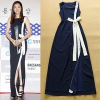 2015 Summer Celebrity High Street Designer Dress Women's Sleeveless Color Block Waist Bow Slit Maxi Formal Full Dress