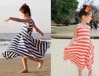 Pls buy any 2pc in  shop 2015 summer child clothes girls maxi dress princess sleeveless stripe dresses children clothing beach