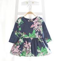 wholesale(5pcs/lot)-spring autumn korean bird flower demin full sleeves dress for 2-7 child girl