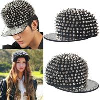 Pointed rivet punk  hiphop cap bboy baseball cap hat flat brim hat