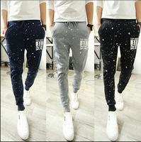2014 Autumn Mens Harem Pants Slim Fit Korean Point Printing Small Leg Open Sports Hip Hop Street Dance Pants Free Shipping