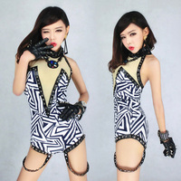2015 Rivet Night Bar Sexy Clubwear DJ Jazz Singer Lead Dancer Stage Performance Clothing One Pieces Jumpsuit Costumes