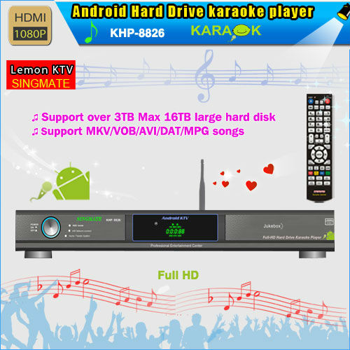 8826(#2)Android Hard drive Karaoke product with HDMI 1080P ,Select songs via phone ,Multilingual MENU(China (Mainland))