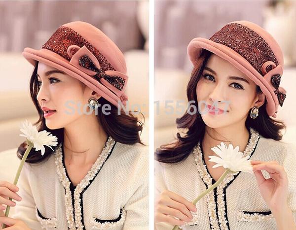 New Fashion Women Autumn Winter Bowler Pillbox Cap Mixed Wool Felt Beret Cap Hat Free Shipping Red-Wine Coffee Pink(China (Mainland))