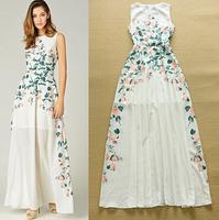 2015 Summer European Runway Designer Dress Women's Cute White Floral Printed Maxi Long Dress Resort Holiday Dress Fairy Vestido