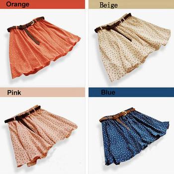 Новый 2015 мода 4 цвета плиссированные цветочные шифон женщины женщины симпатичные мини-юбки пояс включите WF-3830 \ br
