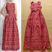 2015 Europe Runway Luxury Brands Designer Long Dress Women's Charming Sleeveless Rose Flower Print Maxi Long Prom Dress