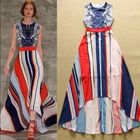 2015 Summer Europe Runway Gorgeous Long Dress Women's Multicolor Striped Printed Sleeveless Dovetail Maxi Dress High-Low Dress