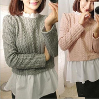 2015 Autumn Ladies Knitted Sweater Hemp Flower Jacquard Weave Pullover Faux Two-Piece Knitwear AD225