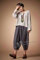 2015 new spring women Fashion pure linen loose capris wide big yard leg pants