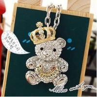 Fashion Cute Teddy Bear with Golden Crown / Tiara CZ Diamonds Long Necklace