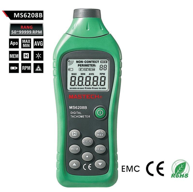 MASTECH MS6208B lcd digital laser photo tachometer RPM meter non contact tacometro rotation speed 50RPM-99999RPM data storage(China (Mainland))