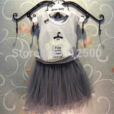 AliExpress.com Product - 2015 New summer clothing sets casual suit set kid cotton suit clothes sets girls vest+skirts 2pcs outerwear de menina
