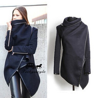 2015 Newly Arrival European Style High Qualirt Turtleneck Solid Slim Overcoat Women's Woolen Coat 1pc/lot