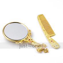 Luxe or brillant strass Compact miroir de poche et peigne Set femmes fille New hot(China (Mainland))