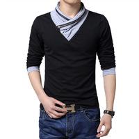 2015 t shirt cotton t shirts body building men autumn new plus size v neck long sleeve t shirt men tshirt