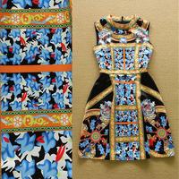 2015 Runway High Quality Designer Dress Women's Sleeveless Stand Collar Retro Baroque Printed Mini Tank Dress