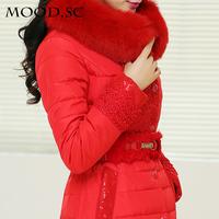 Winter women's 2014 embroidery large fur collar medium-long down coat high quality down coat female slim plus size